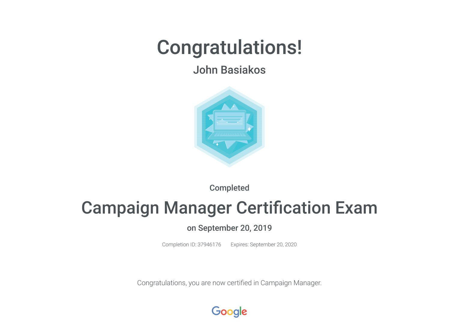 Campaign Manager Certification Exam _ Google