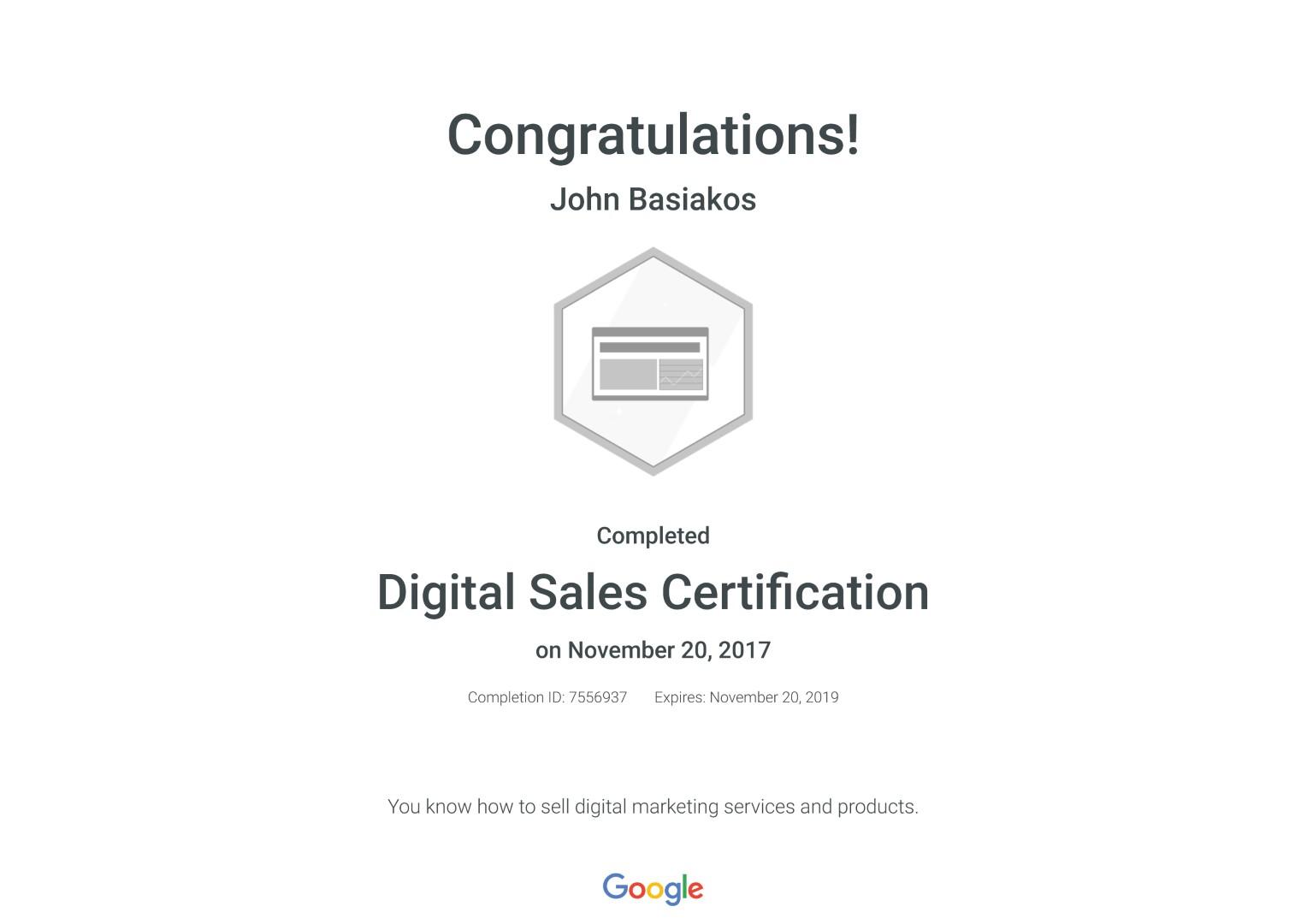 Digital Sales Certification _ Google