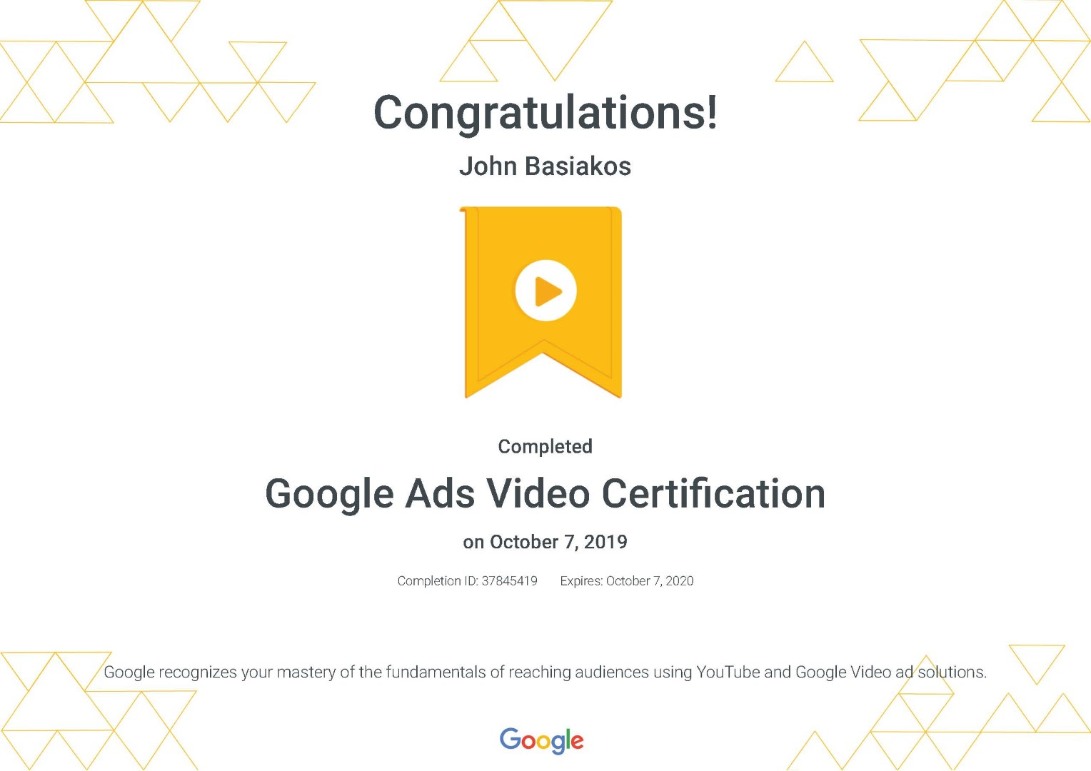 Google Ads Video Certification _ Google