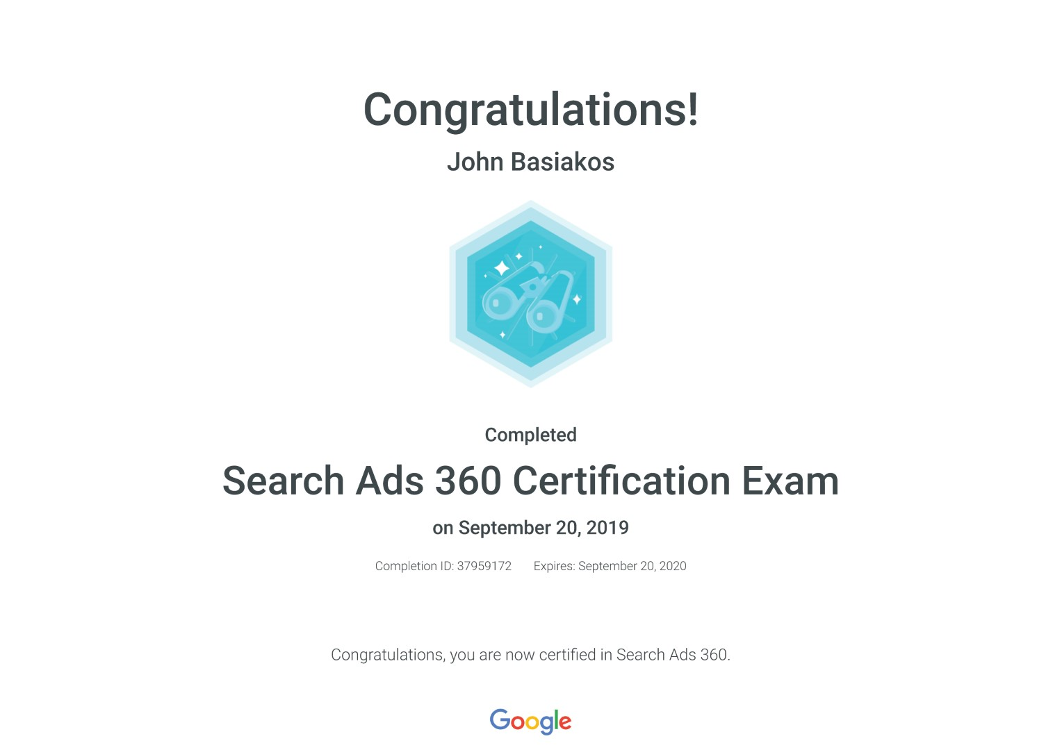 Search Ads 360 Certification Exam _ Google